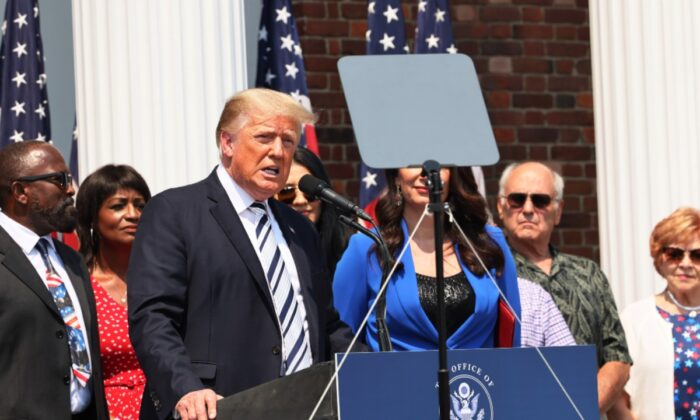 Former President Donald Trump speaks during a press conference announcing a class action lawsuit against big tech companies at the Trump National Golf Club Bedminster in Bedminster, N.J., on July 7, 2021. (Michael M. Santiago/Getty Images)