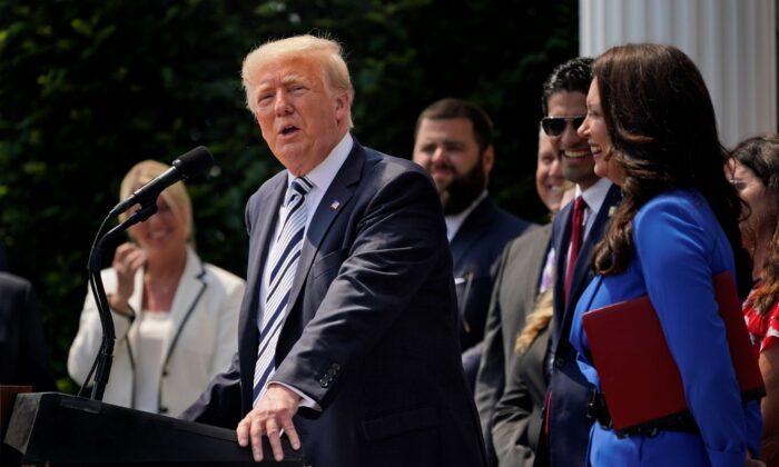 Former President Donald Trump speaks at Trump National Golf Club in Bedminster, N.J., on July 7, 2021. (Seth Wenig/AP Photo)