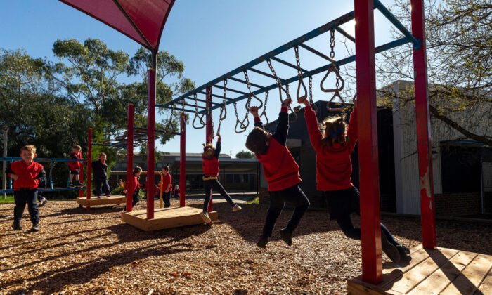 Students play at recess at Lysterfield Primary School on May 26, 2020, in Melbourne, Australia. (Daniel Pockett/Getty Images)