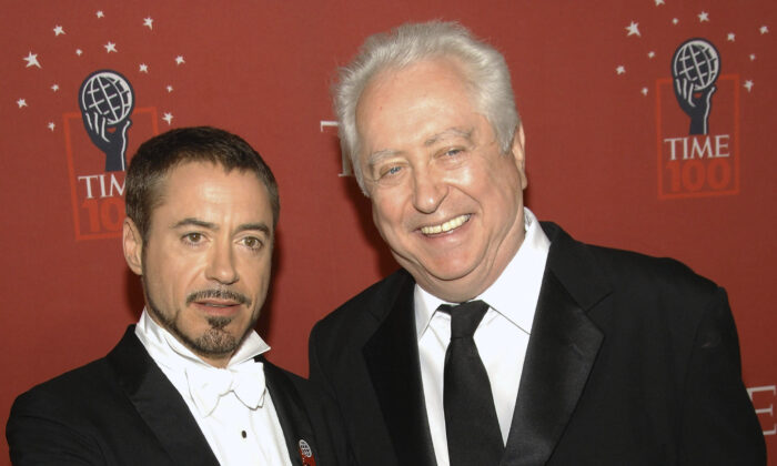 Actor Robert Downey Jr. (L) and his father Robert Downey Sr. arrive at Time's 100 Most Influential People in the World Gala in New York City on May 8, 2008. (Evan Agostini/AP Photo)