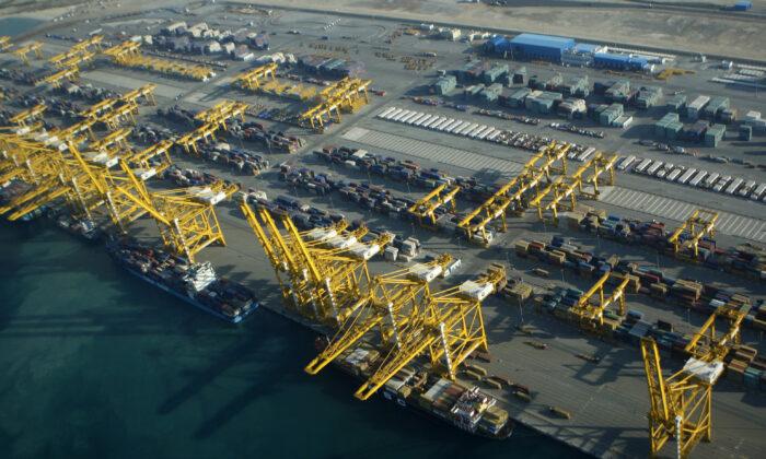 Container ships dock at the Dubai Port in the Jebel Ali Free Zone about 40 kilometers (25 miles) south of Dubai, United Arab Emirates, on Jan. 3, 2010. (Kamran Jebreili/AP Photo)