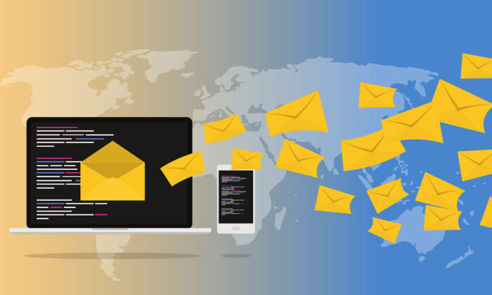 Emails fly in front of a global map in this illustration. (Pixabay)
