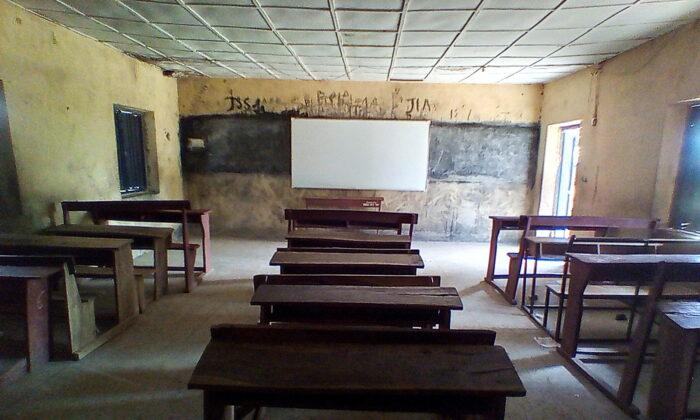 Pieces of furniture are seen inside a classroom at Bethel Baptist High School in Damishi, Kaduna, Nigeria, on July 7, 2021. (Bosan Yakusak/Reuters)