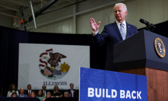"""President Joe Biden delivers remarks on his proposed """"American Families Plan"""" legislation in the Chicago suburb of Crystal Lake, Ill., on July 7, 2021. (Evelyn Hockstein/Reuters)"""