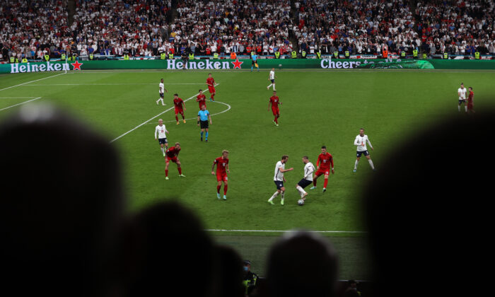 A general view of play during the UEFA Euro 2020 Championship Semi-final match between England and Denmark at Wembley Stadium in London on July 7, 2021. (Catherine Ivill/Getty Images)