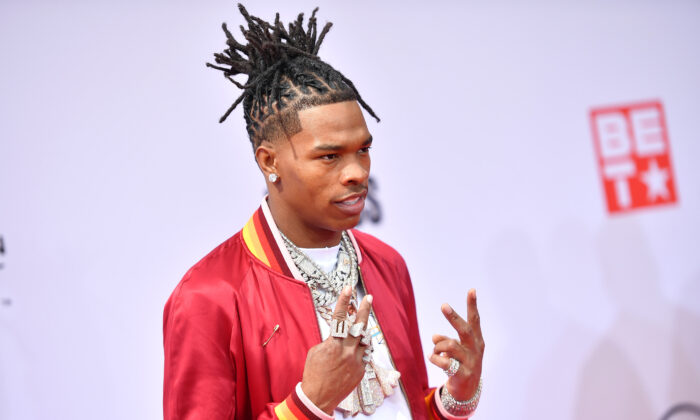Lil Baby attends the BET Awards 2021 at Microsoft Theater in Los Angeles, Calif., on June 27, 2021. (Paras Griffin/Getty Images for BET)