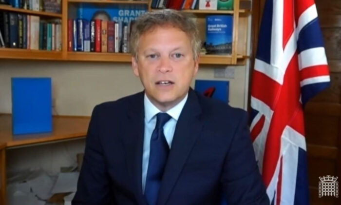 The UK's Transport Secretary Grant Shapps giving evidence to the Commons Transport Select Committee on July 7, 2021. (House of Commons via PA)