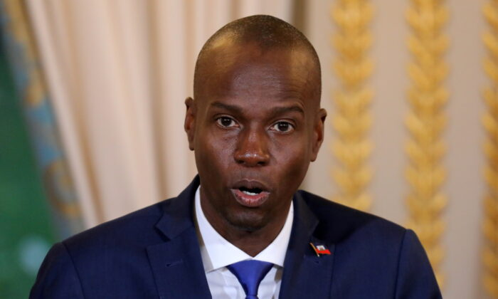 Haitian President Moise Jovenel speaks during a press conference at the Elysee Palace in Paris, France, on Dec. 11, 2017. (Ludovic Marin/Pool/Reuters)