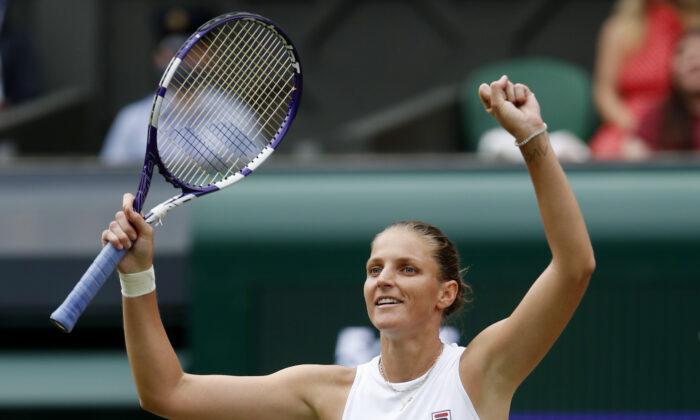 Czech Republic's Karolina Pliskova celebrates winning her semi final match against Belarus' Aryna Sabalenka at the Wimbledon Tennis Championships in London, UK, on July 8, 2021. (Paul Childs/Reuters)