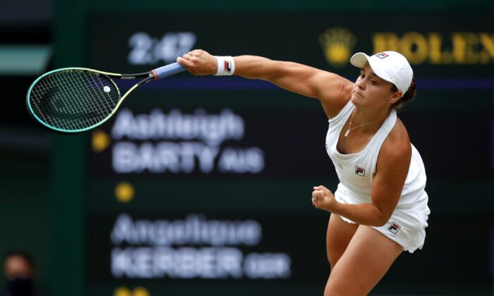Australia's Ashleigh Barty in action during her semi final match against Germany's Angelique Kerber at The Wimbledon Tennis Championships in London, UK, on July 8, 2021. (Paul Childs/Reuters)