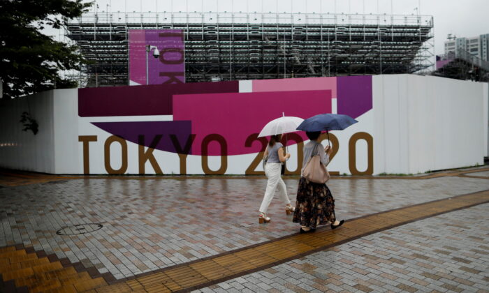Scaffoldings for the spectator seats are seen at Aomi Urban Sports Park,  in Tokyo, Japan July 8, 2021.  (Issei Kato/Reuters)