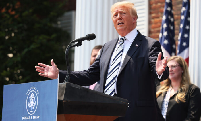 Former U.S. President Donald Trump speaks during a press conference announcing a class action lawsuit against Big Tech companies at the Trump National Golf Club Bedminster in Bedminster, N.J., on July 7, 2021. (Michael M. Santiago/Getty Images)