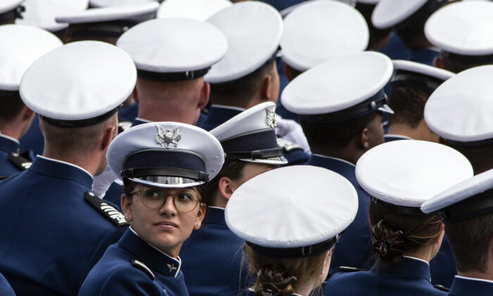 A graduating cadet looks back to the audience during the 2019 graduation ceremony at the United States Air Force Academy in Colorado Springs, Colo., on May 30, 2019. (Chet Strange/AFP via Getty Images)