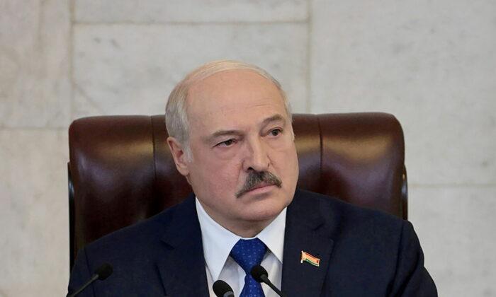 Belarusian President Alexander Lukashenko delivers a speech in Minsk, Belarus, on May 26, 2021. (Press Service of the President of the Republic of Belarus/Handout via Reuters)