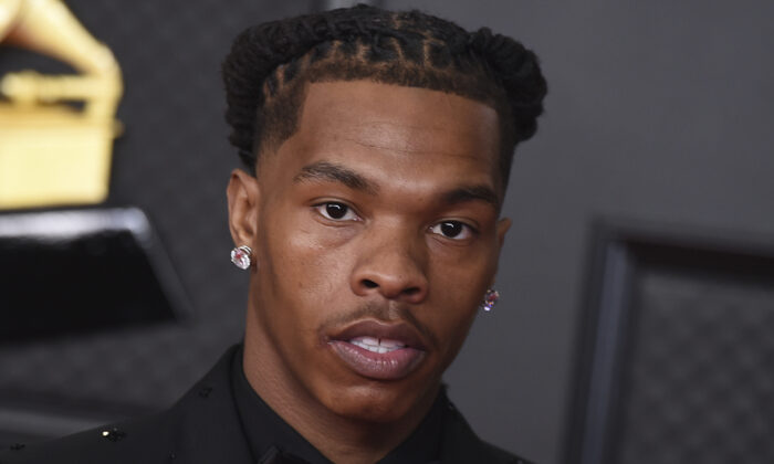 Lil Baby poses in the press room at the 63rd annual Grammy Awards at the Los Angeles Convention Center in Los Angeles, Calif., on March 14, 2021. (Jordan Strauss/Invision/AP)