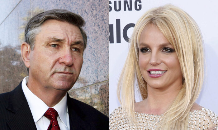 (L) Jamie Spears, father of singer Britney Spears, leaves the Stanley Mosk Courthouse in Los Angeles, Calif., on Oct. 24, 2012. (R) Britney Spears arrives at the Billboard Music Awards in Las Vegas, on May 17, 2015. (AP Photo)