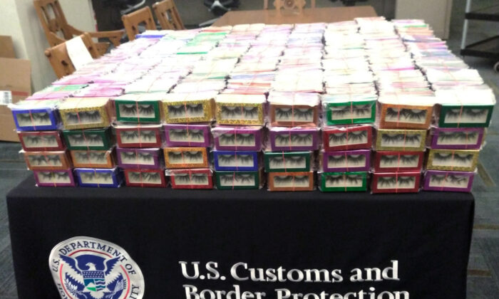 Boxes of long lashes seized at Louis Armstrong New Orleans International Airport in Kenner, La., on July 6, 2021. (U.S. Customs and Border Protection via AP)
