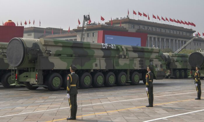 The Chinese military's new DF-41 intercontinental ballistic missiles, that can reportedly reach the United States, are seen at a parade to celebrate the 70th Anniversary of the founding of the People's Republic of China in 1949, at Tiananmen Square in Beijing, China, on Oct. 1, 2019. (Kevin Frayer/Getty Images)