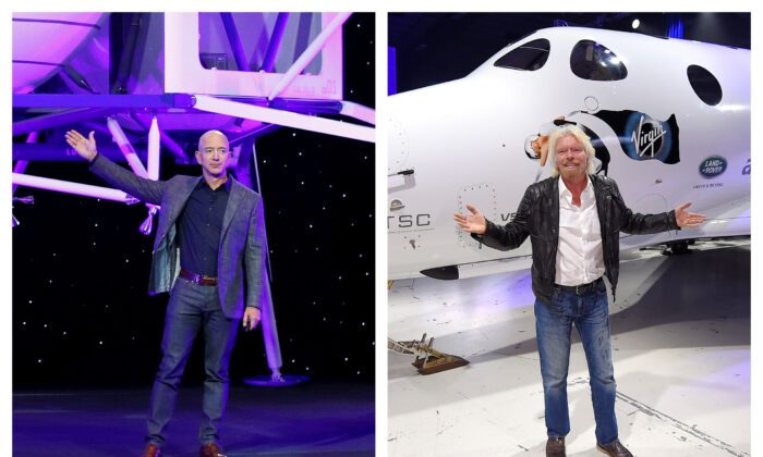 Jeff Bezos with a model of Blue Origin's Blue Moon lunar lander in Washington, left, in 2019 and Richard Branson with Virgin Galactic's SpaceShipTwo space tourism rocket in Mojave, Calif., in 2016.(Patrick Semansky, Mark J. Terrill/AP Photo)