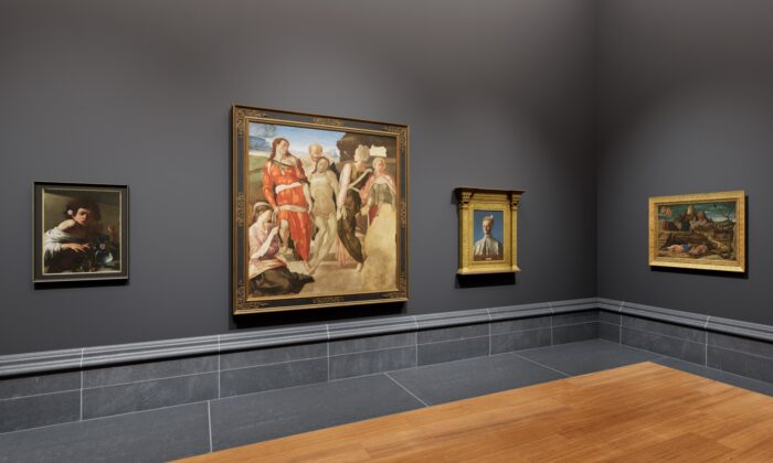 """Four of the 20 paintings that feature in """"The Director's Choice"""" exhibition at TheNational Gallery, London, created with Moyosa Media: (L–R) """"Boy Bitten by a Lizard,"""" circa 1594–95, by Caravaggio; """"The Entombment (or Christ Being Carried to His Tomb),"""" circa 1500–1501, Michelangelo;""""Doge Leonardo Loredan,"""" circa 1501–1502, by Giovanni Bellini; """"The Agony in the Garden,"""" circa 1455–56, byAndrea Mantegna.(The National Gallery, London)"""