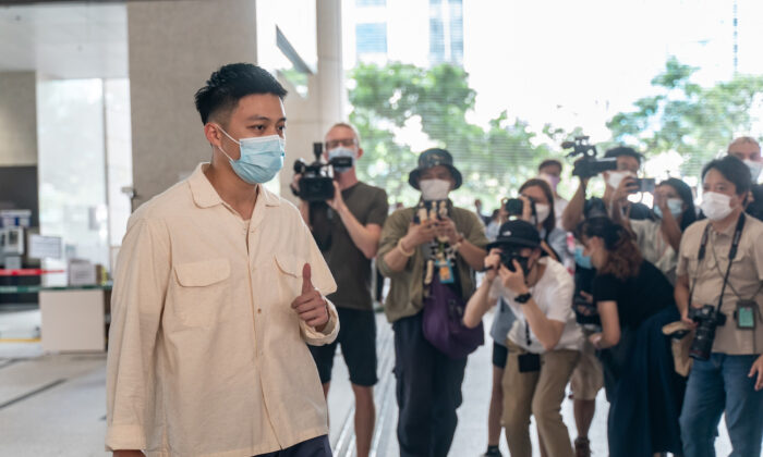 A pro-democracy district councilor Lee Yue-shun arrives for a hearing at the West Kowloon Magistrates' Courts in Hong Kong, China, on July 8, 2021.(Anthony Kwan/Getty Images)