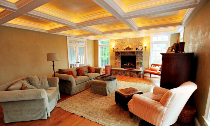 Box beams are not difficult to attach to the ceiling. Even though they look solid, most are actually hollow and are installed for strictly decorative purposes. (Christopher Edwin Nuzzaco/Shutterstock)