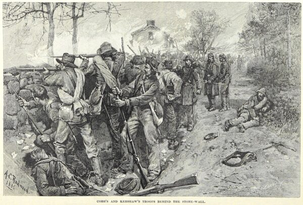 Confederate troops behind the stone wall
