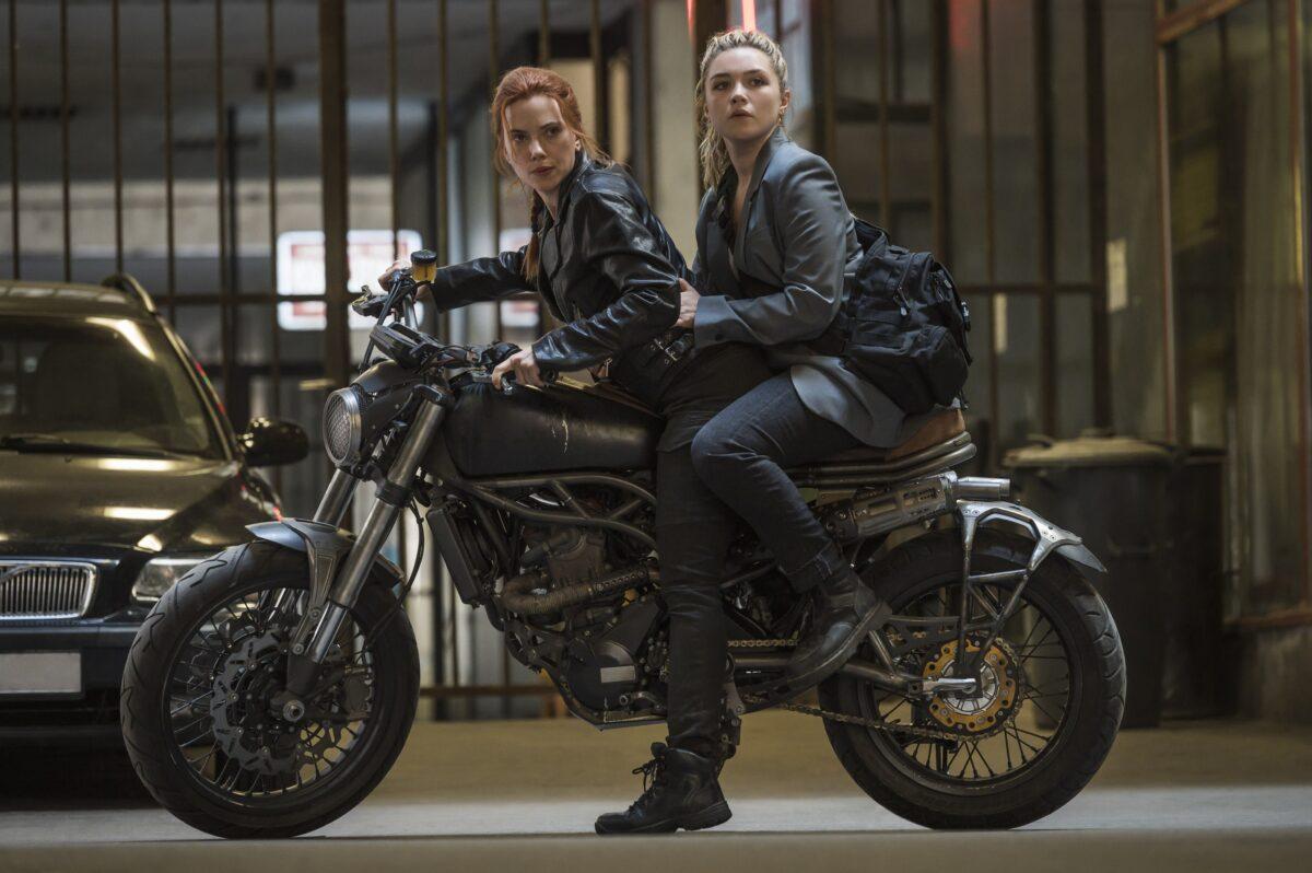 two women on motorcycle in Black WIdow