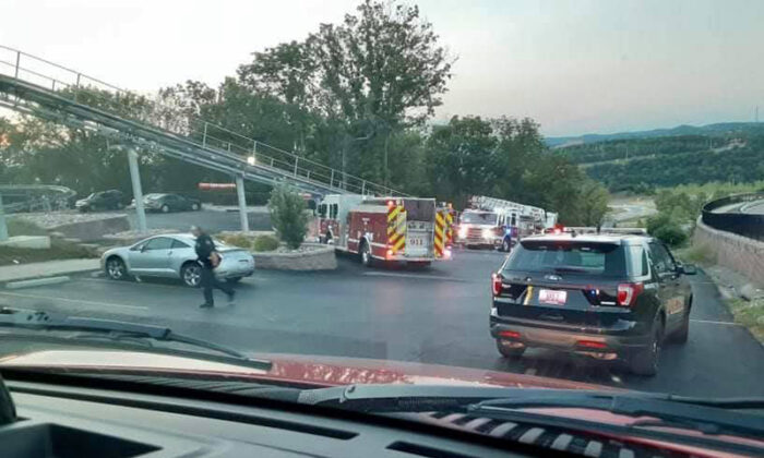 First responders assist an injured coaster rider at the Branson Coaster on West 76 Country Boulevard in Branson, Mo., on June 20, 2021. (Branson Professional Firefighters Local 152/TNS)