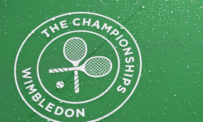 Wimbledon Championships logo in London, Englandon June 28, 2021. (Mike Hewitt/Getty Images)