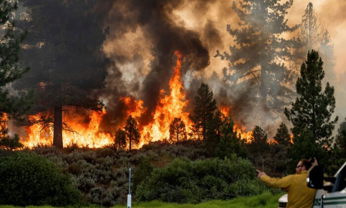 Firefighter Kyle Jacobson monitors the Sugar Fire, part of the Beckwourth Complex Fire, burning in Plumas National Forest, Calif., on July 9, 2021. (Noah Berger/AP Photo)