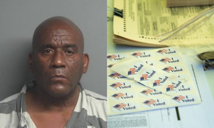 """Hervis Rogers, on left, in a booking photograph. On right, a file picture shows """"I Voted"""" stickers in Texas. (Montgomery County; Getty Images)"""