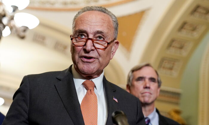 Senate Majority Leader Chuck Schumer (D-N.Y.) speaks to the media after the Senate Democratic policy luncheon on Capitol Hill on June 22, 2021. (Joshua Roberts/Reuters)