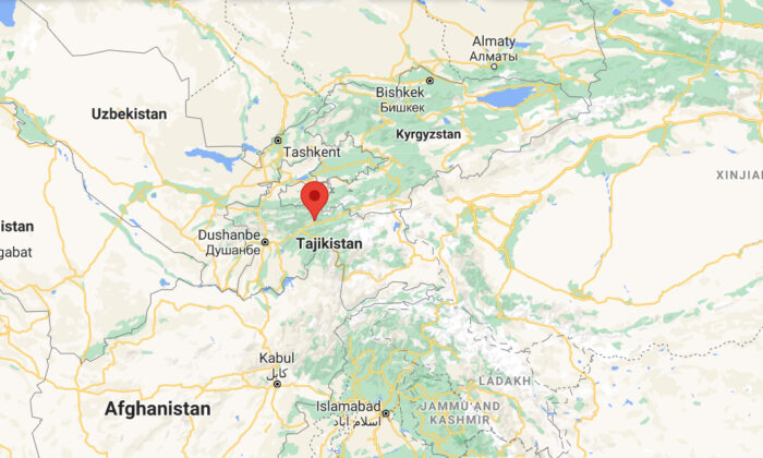 This screenshot shows the location of an earthquake occured in east of Rasht in Tajikistan, on July 10, 2021. (Google Map/Screenshot via The Epoch Times)