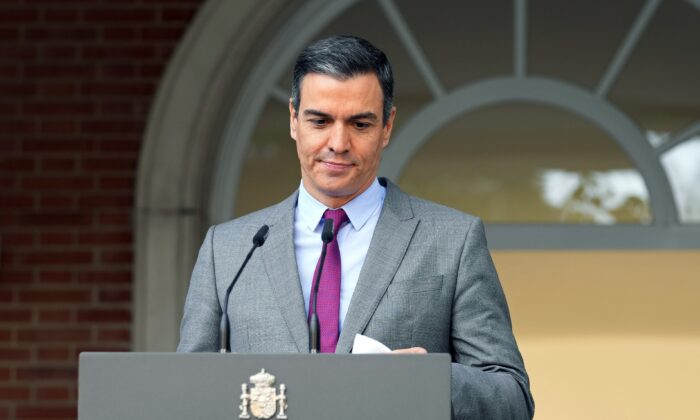 Spain's Prime Minister Pedro Sanchez prepares to deliver a statement at the Moncloa Palace in Madrid, Spain, on June 22, 2021. (Paul White/AP Photo)