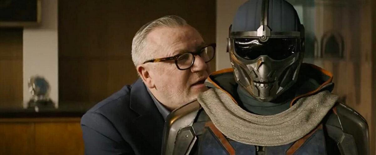 man and bionic human in Black Widow