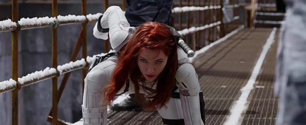 woman in white superhero suit in Black Widow