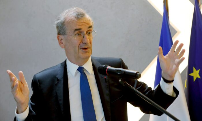 The Governor of the Bank of France, Francois Villeroy de Galhau delivers a speech at the French Prudential Supervision and Resolution Authority (ACPR) in Paris on Sept. 18, 2018. (Francois Guillot/AFP via Getty Images)