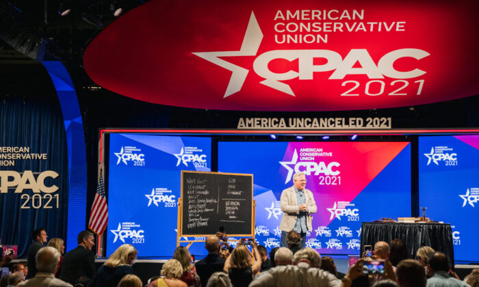 American commentator Glenn Beck speaks during the Conservative Political Action Conference (CPAC) held at the Hilton Anatole in Dallas, Texas on July 10, 2021. (Brandon Bell/Getty Images)