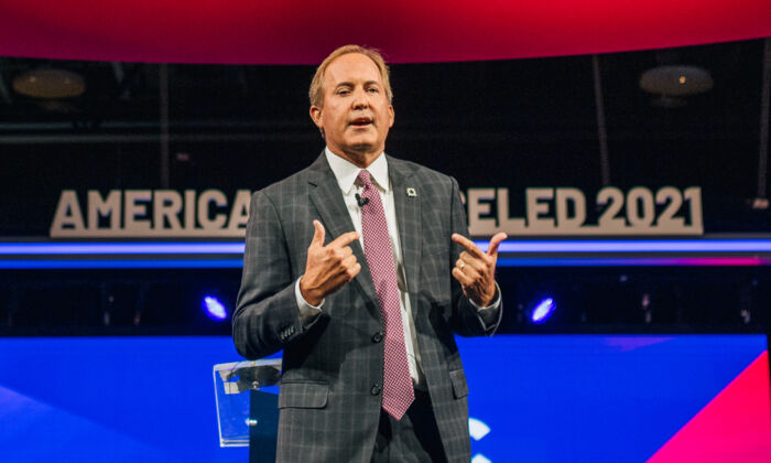 Texas Attorney General Ken Paxton speaks during the Conservative Political Action Conference (CPAC) held at the Hilton Anatole in Dallas, Texas, on July 11, 2021. (Brandon Bell/Getty Images)