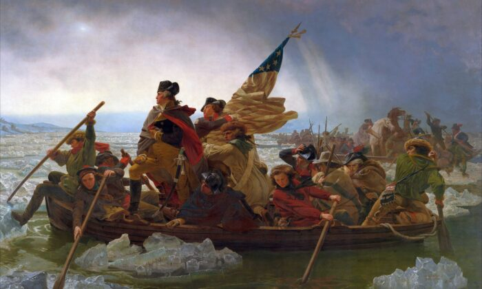 General George Washington (1732–1799) stands in the prow of a rowing boat crossing the Delaware to seek safety in Pennsylvania after defeat by the British. (Emanuel Gottlieb Leutze/Metropolitan Museum of Art via Wikimedia, public domain)