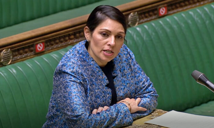 Home Secretary Priti Patel speaking in the House of Commons, London, on March 15, 2021. (House of Commons/PA)