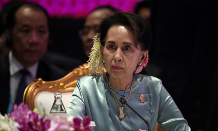 State Counsellor of Burma Aung San Suu Kyi attends the 22nd ASEAN Plus Three Summit in Bangkok, Thailand, on Nov. 4, 2019. (Chalinee Thirasupa/Reuters)