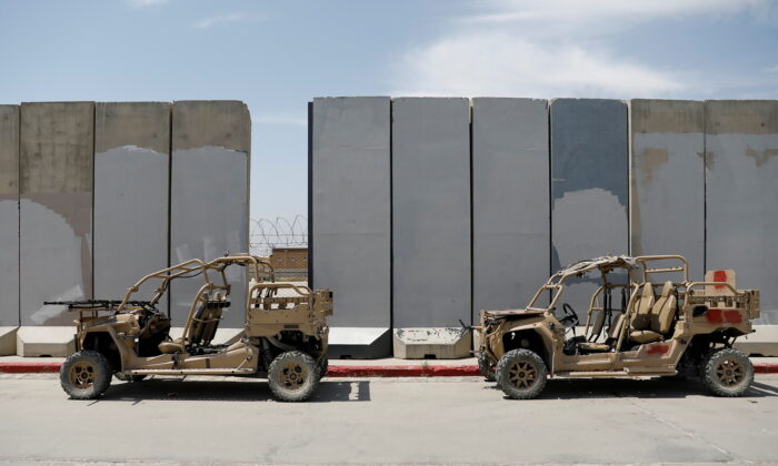 Infantry Squad vehicles are seen in Bagram U.S. air base, after American troops vacated it, in Parwan province, Afghanistan, on July 5, 2021. (Mohammad Ismail/Reuters)