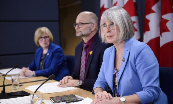 (L–R) Disability Inclusion Minister Carla Qualtrough, Justice Minister David Lametti, and Health Minister Patty Hajdu make an announcement regarding medical assistance in dying legislation at a press conference in Ottawa on Feb. 24, 2020. (The Canadian Press/Sean Kilpatrick)