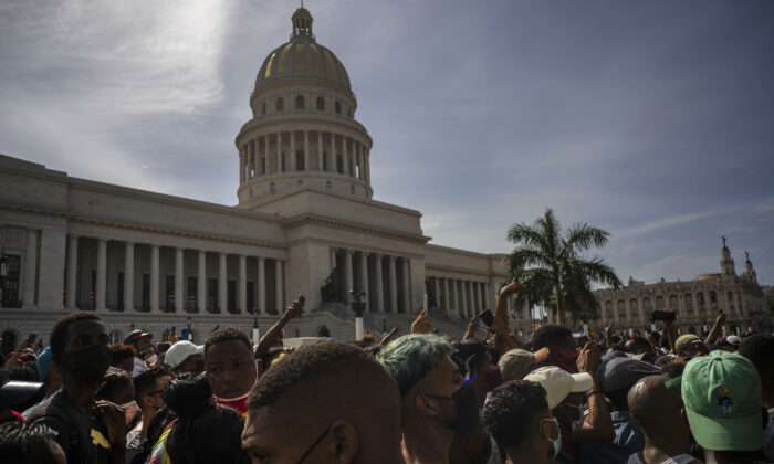 People protest in front of the Capitol in Havana, Cuba on July 11, 2021. (Ramon Espinosa/AP Photo)