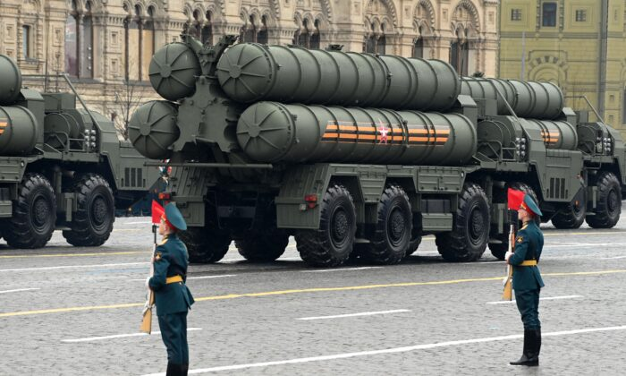 Russian S-400 anti-aircraft missile systems move through Red Square during the Victory Day military parade in Moscow on May 9, 2021. (Kirill Kudryavtsev/AFP via Getty Images)