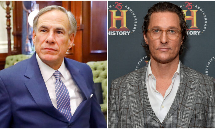 (L) Texas Gov. Greg Abbott arrives for his COVID-19 press conference at the Texas State Capitol in Austin on March 29, 2020. (Tom Fox-Pool/Getty Images) (R) Matthew McConaughey attends HISTORYTalks Leadership & Legacy presented by HISTORY at Carnegie Hall in New York on Feb, 29, 2020. (Noam Galai/Getty Images for HISTORY)
