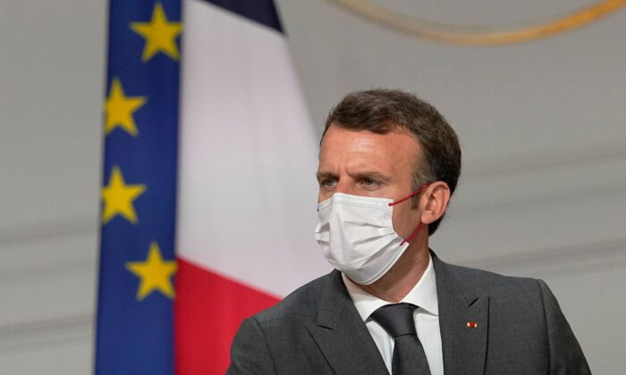 France's President Emmanuel Macron meets French carmakers at the Elysee Palace in Paris, France, on July 12, 2021. (Michel Euler/AP Photo)