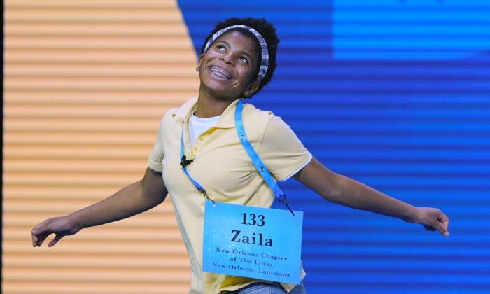 Zaila Avant-garde, 14, celebrates after winning the finals of the 2021 Scripps National Spelling Bee at Disney World in Lake Buena Vista, Fla., on July 8, 2021. (John Raoux/AP Photo)